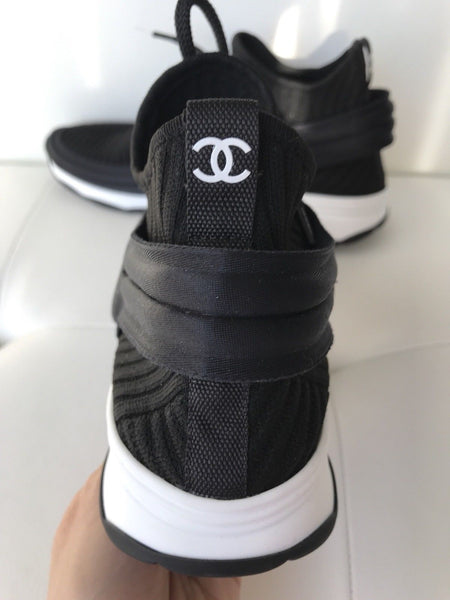 CHANEL CC LOGO BLACK WHITE STRETCH HIGH TOP SNEAKERS SOCKS SHOES TRAINERS