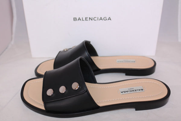 Balenciaga Studded Black Leather Slingback Flats Flat