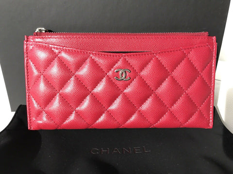 CHANEL 18B RED DARK PINK CAVIAR SHW LONG ZIP WALLET PHONE HOLDER O-CASE POUCH