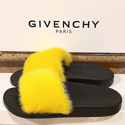 GIVENCHY MINK FUR SS17 YELLOW RUNWAY SLIDES FLIP FLOPS SHOES SANDALS