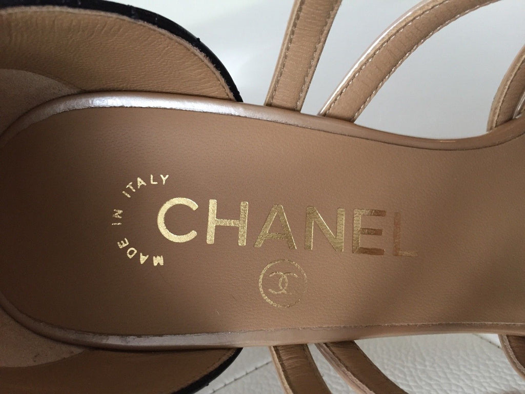 db9ad520355 ...  1K CHANEL BEIGE BLACK LEATHER STRAPPY BUCKLE SANDAL SANDALS HEELS SHOES