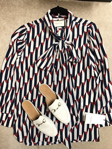 Gucci SS17 Red White Blue Arrow Print Button Down Silk Shirt Blouse