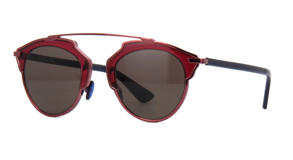 Dior So Real Red Burgundy Blue Metal Plastic Aviator Gradient Sunglasses