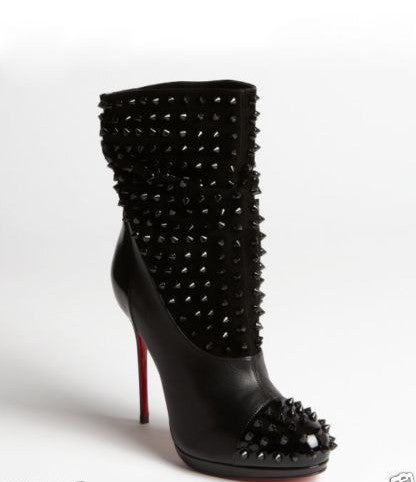 CHRISTIAN LOUBOUTIN SPIKE WARS SUEDE BLACK SPIKES PULL ON BOOT BOOTIES BOOTS 37.5 PRE-OWNED