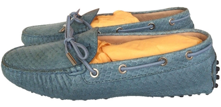 TOD'S GOMMINO PYTHON SNAKE SNAKESKIN BLUE DRIVERS LOAFERS FLAT FLATS BALLET SHOES