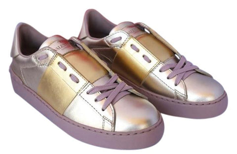 2016 VALENTINO TONAL GOLD METALLIC LEATHER ROCKSTUD SNEAKERS SHOES TRAINERS