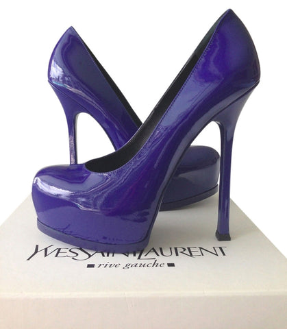 YSL SAINT LAURENT TRIBTOO 105 ROYAL BLUE PATENT LEATHER PUMP SHOES