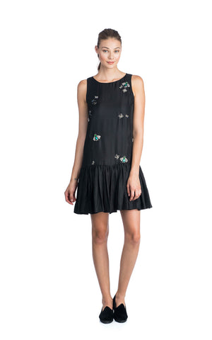 ZAC POSEN MANDY SLEEVELESS SILK JEWELLED BUG BLACK LOW WAIST COCKTAIL DRESS