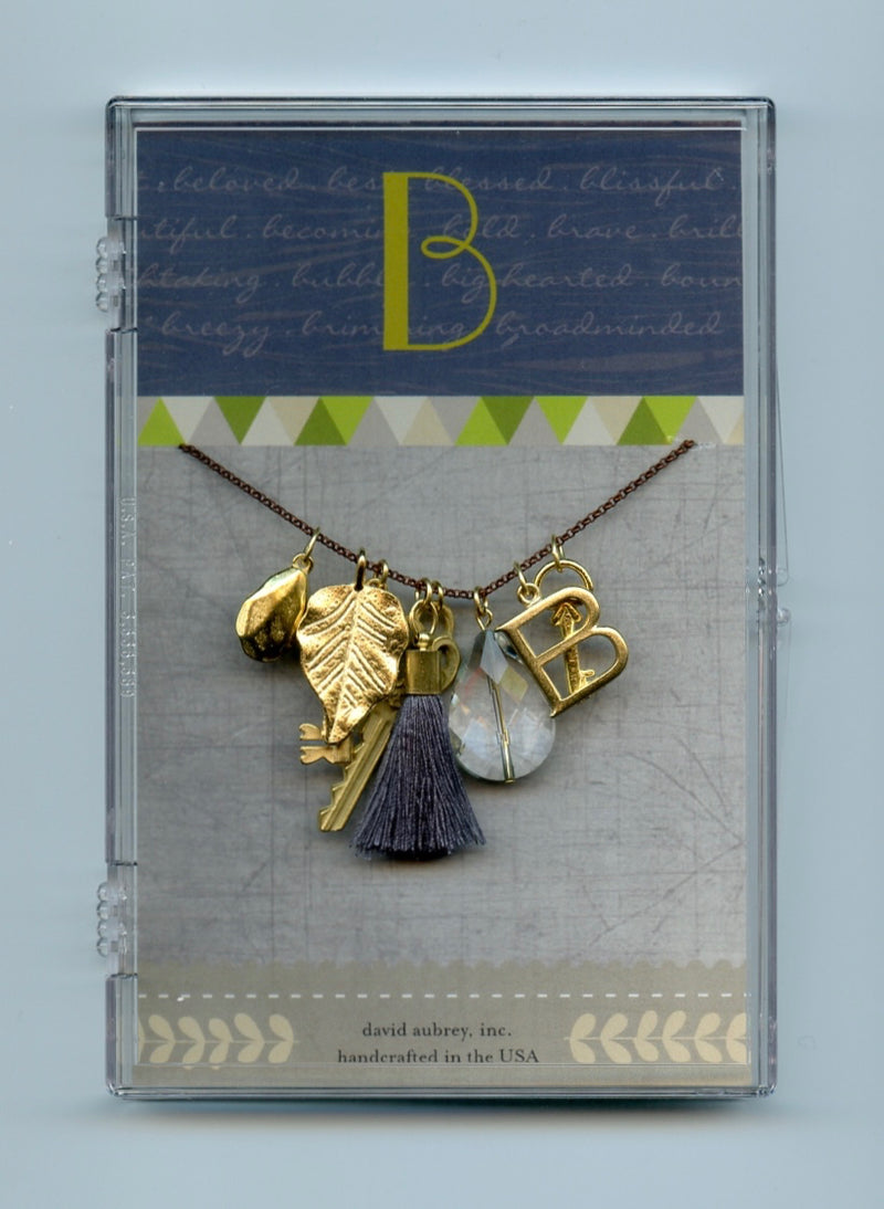 Monogram Charm Tassel Necklace (A to Z)
