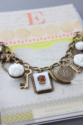 CMB8 VINTAGE MOTHER OF PEARL CHARM BRACELET