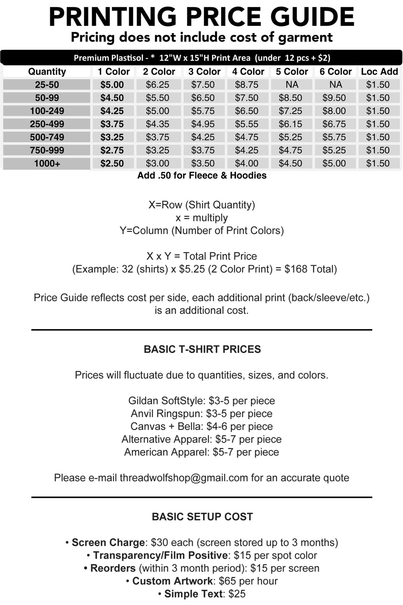 Screen Printing Price Guide Thread Wolf Screen Printing