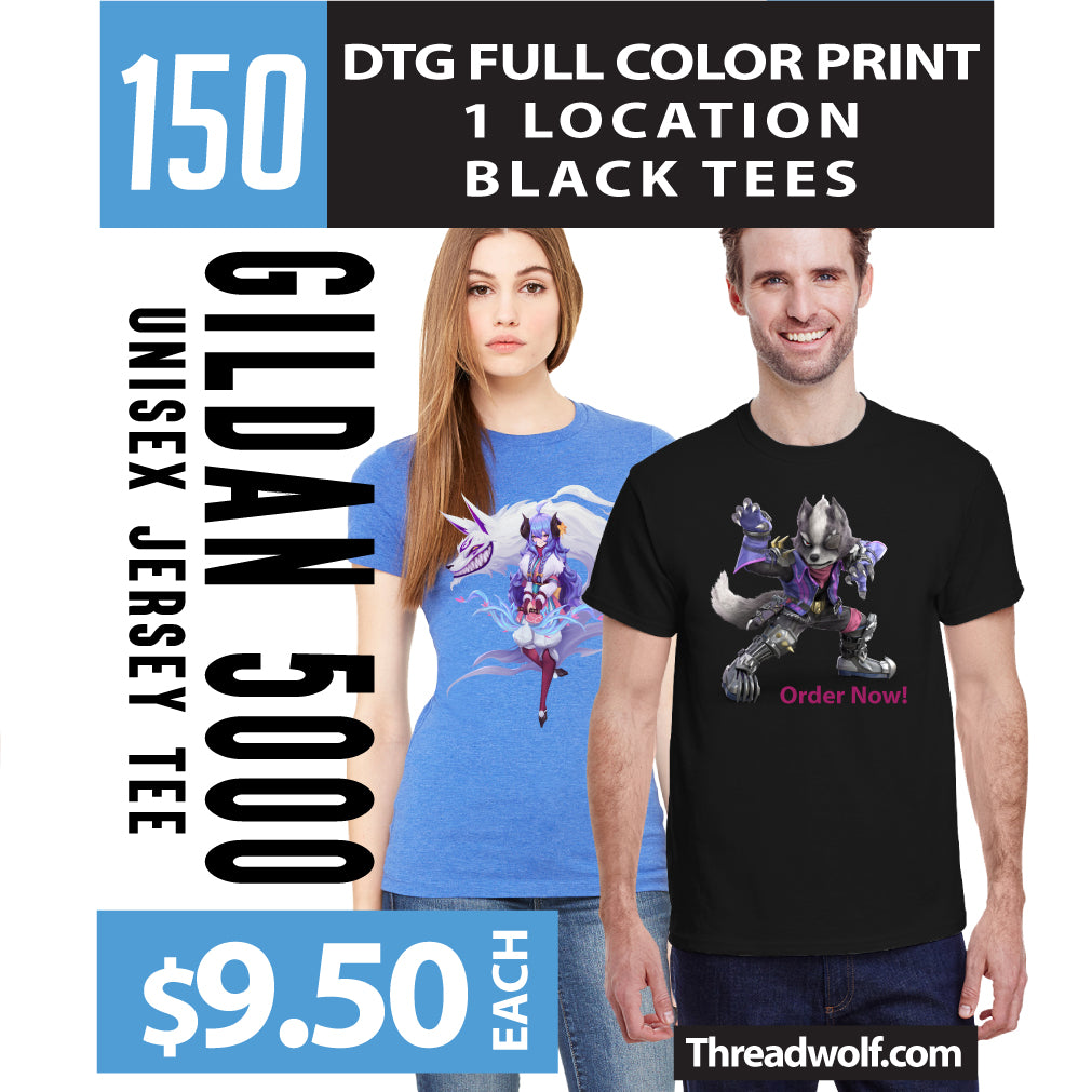 150 Full Color DTG Black Shirts