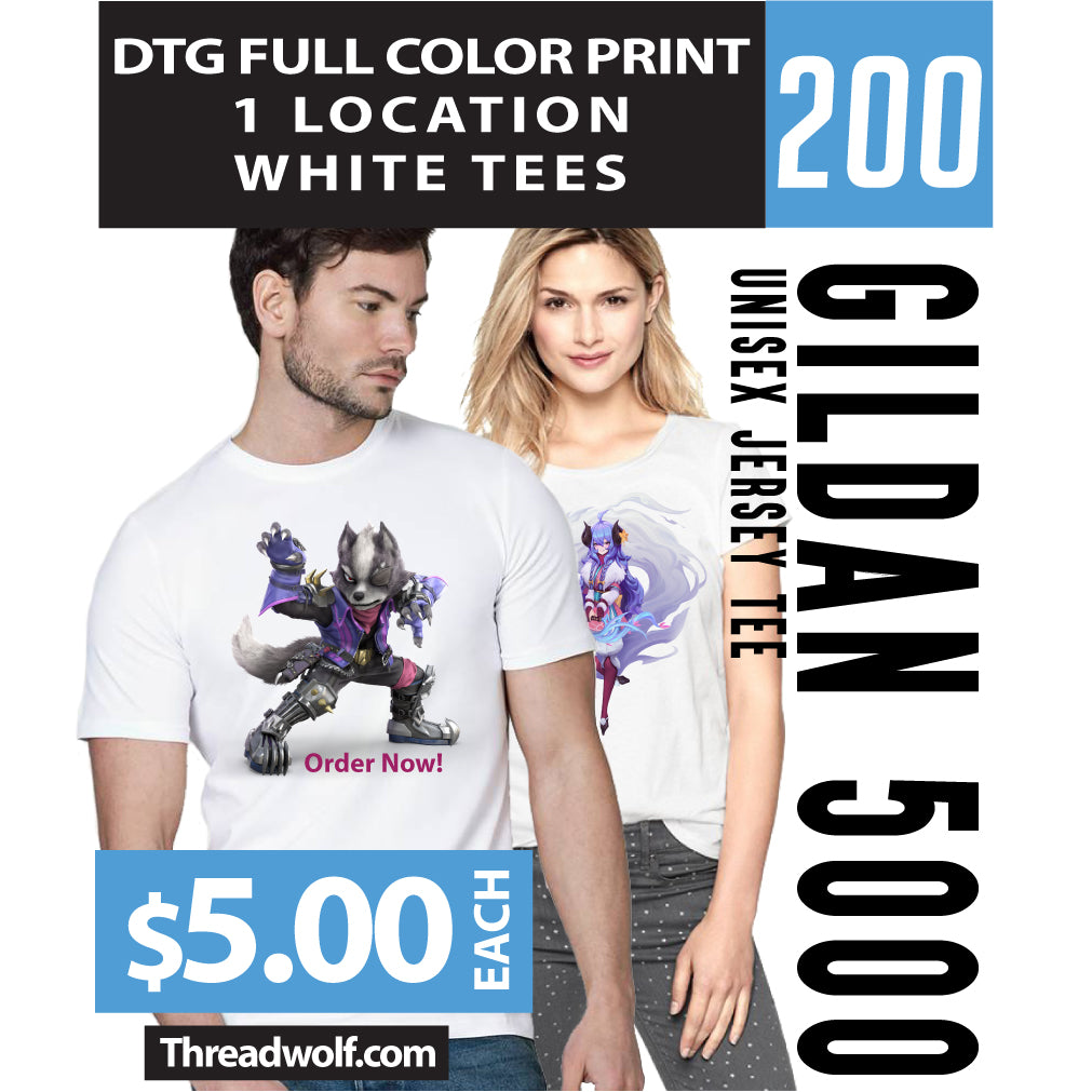 200 Full Color DTG White Shirts
