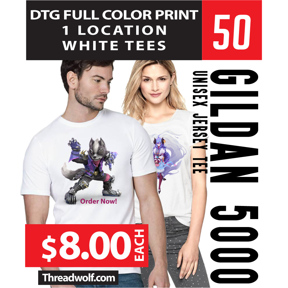 50 Full Color DTG White Shirts