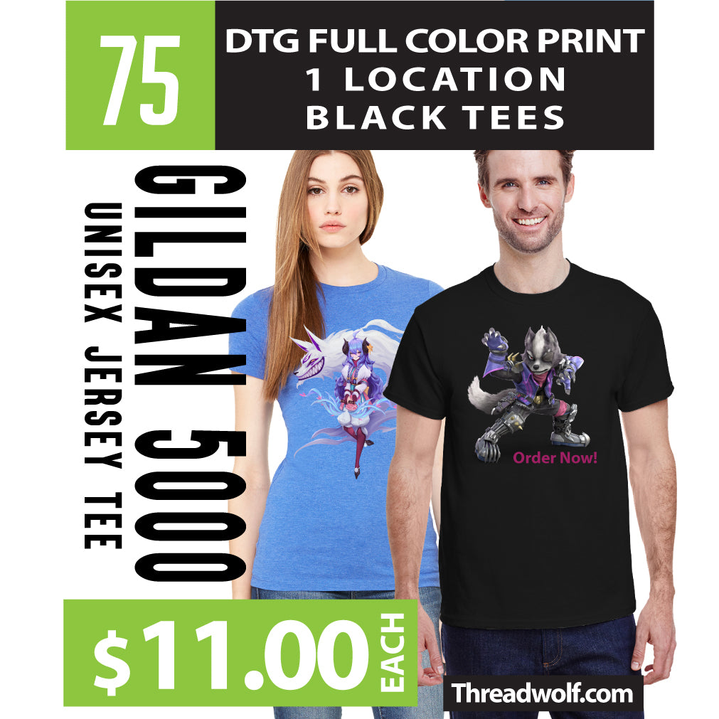75 Full Color DTG Black Shirts