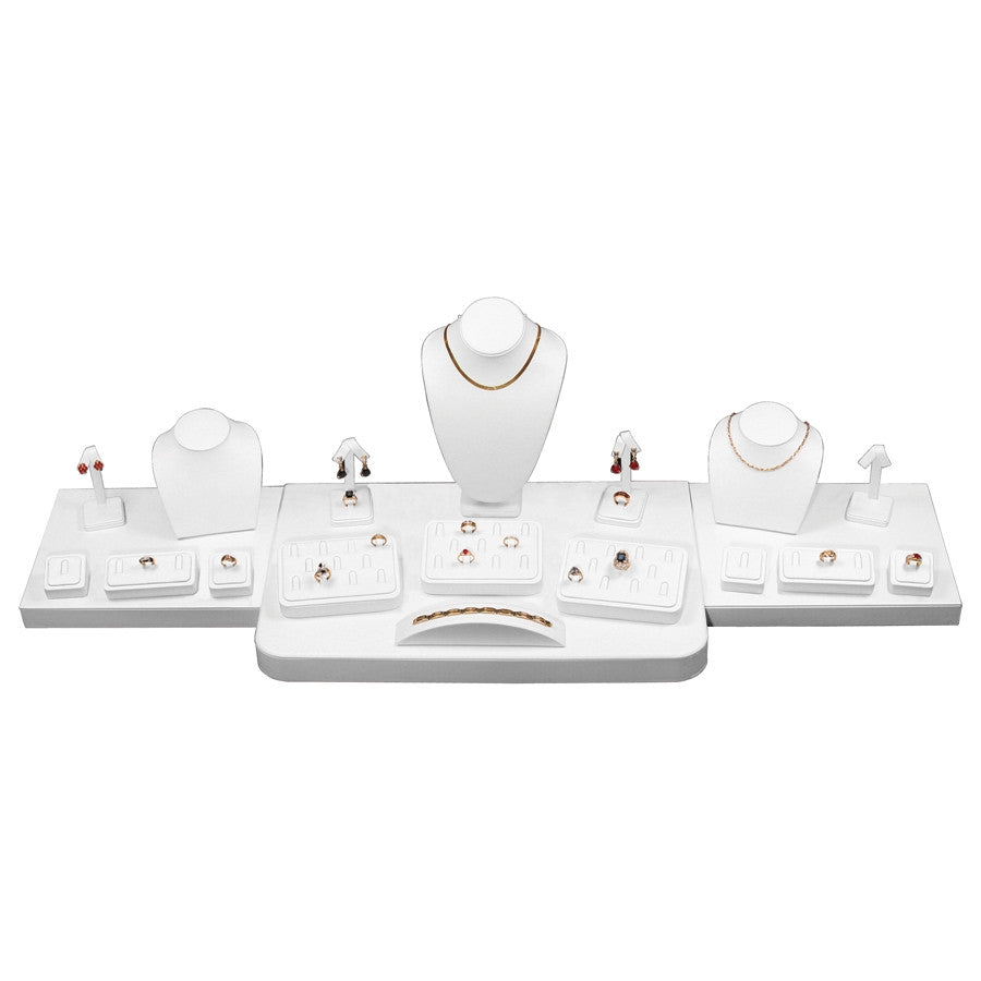 20-Piece White Leather Showcase collection set - Jewel Box Co
