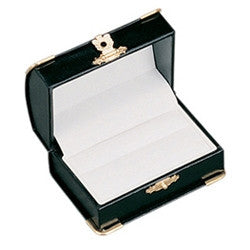 Curved Leather Double Ring Box With Clasp - Jewel Box Co
