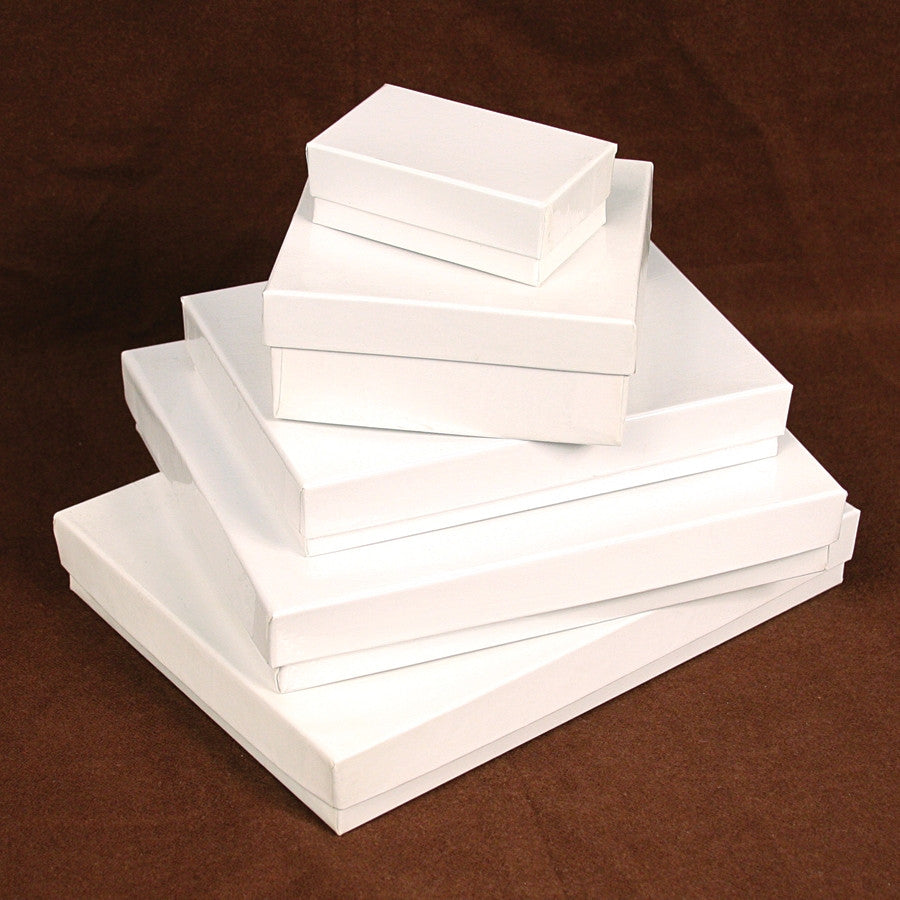 Glossy White Cotton Filled Jewelry Box - Jewel Box Co