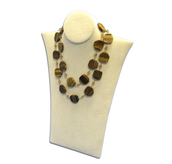 Padded Beige Suede Necklace Stand - Jewel Box Co