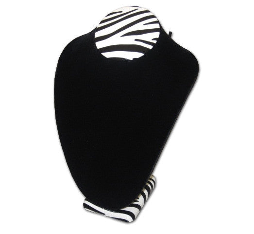 "11"" Soft Black Velvet Neckform with Zebra Trim - Jewel Box Co"