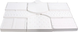 18-Piece White Leather Showcase collection set - Jewel Box Co