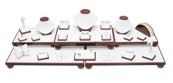 26-Piece White Leather w / Rosewood Trim Showcase collection set