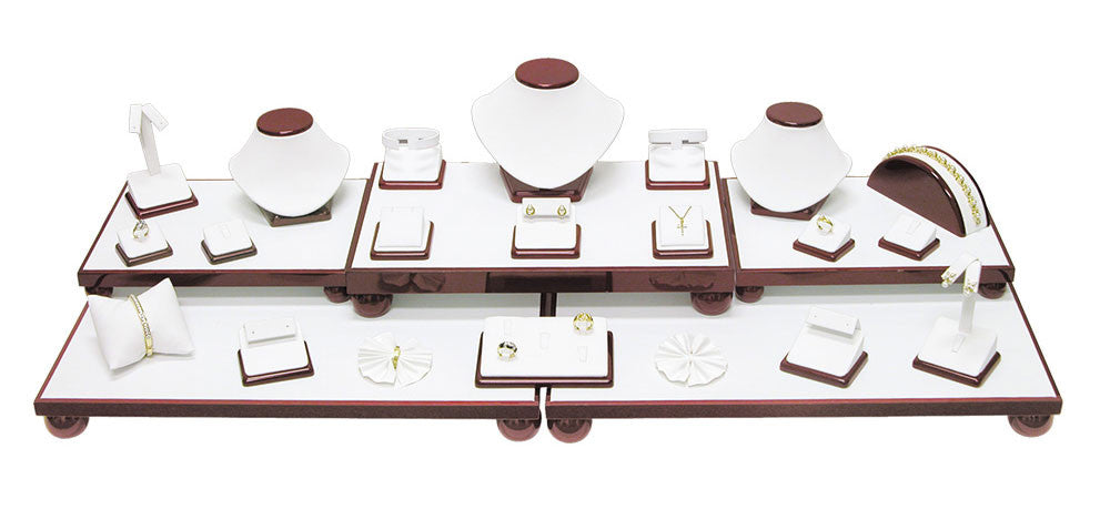 26-Piece White Leather w / Rosewood Trim Showcase collection set - Jewel Box Co