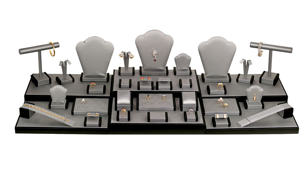 35 Piece Steel Grey Showcase Display Set - Jewel Box Co