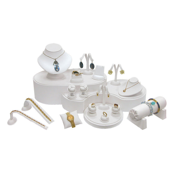 19-Piece Showcase collection set White Leather - Jewel Box Co