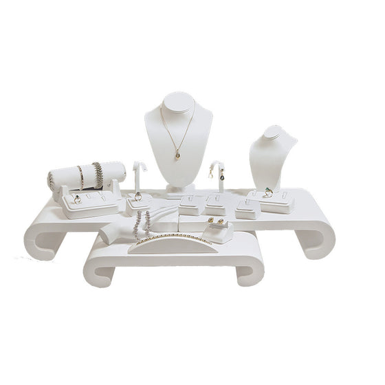 17-Piece White Leather Showcase collection set - Jewel Box Co