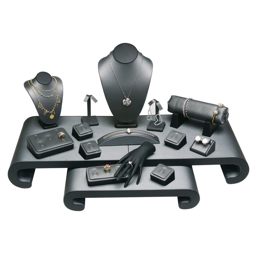 17- Piece Showcase Collection Set Steel Grey Leather w/ Black Leather - Jewel Box Co