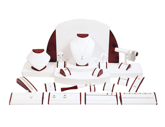 23-Piece White Leather w/ Rosewood Trim Showcase collection set - Jewel Box Co