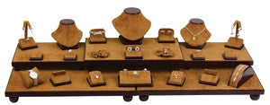 26-Piece Chestnut Suede w/ Dark Brown Leather Trim showcase collection set - Jewel Box Co