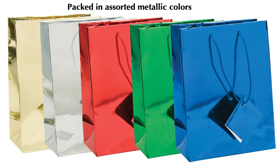 Assorted Metallic Shopping Tote Bag - Jewel Box Co