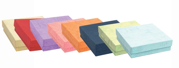 Sold By The Case Bulk Pricing Available 100 Pcs 5 58 x 7 18 x 1 14 Assorted Pastel Jewelry Boxes Cotton Filled BX2775-M