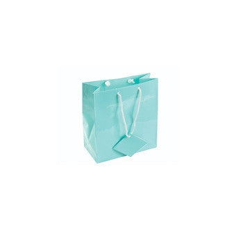 "3"" x 3 1/2"" Glossy Teal Blue Tote Bag - Jewel Box Co"