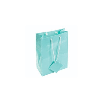 "4"" x 4 1/2"" Glossy Teal Blue Tote Bag - Jewel Box Co"