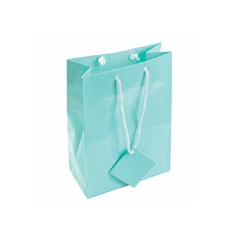 "4 3/4"" x 6 3/4"" Glossy Teal Blue Tote Bag - Jewel Box Co"