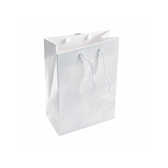 "4 3/4"" x 6 3/4"" Glossy White Tote Bag - Jewel Box Co"