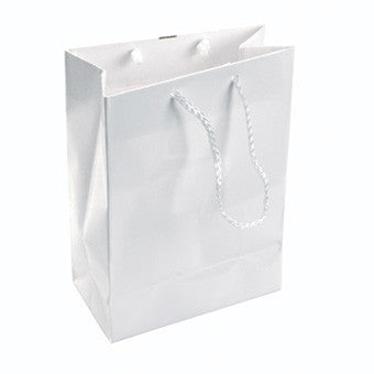 "3"" x 3 1/2"" Glossy White Tote Bag - Jewel Box Co"