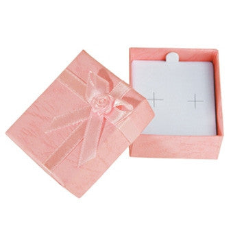 Pastel Linen Bow Tie Assorted Color Earring Box - Jewel Box Co