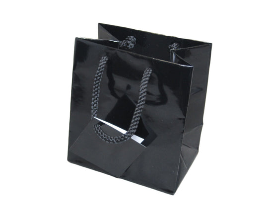 "4"" x 4 1/2"" Glossy Black Jewelry Gift Bag - Jewel Box Co"