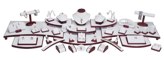 57-Piece Showcase Collection Set White Leather w/Glossy Rosewood Trim - Jewel Box Co