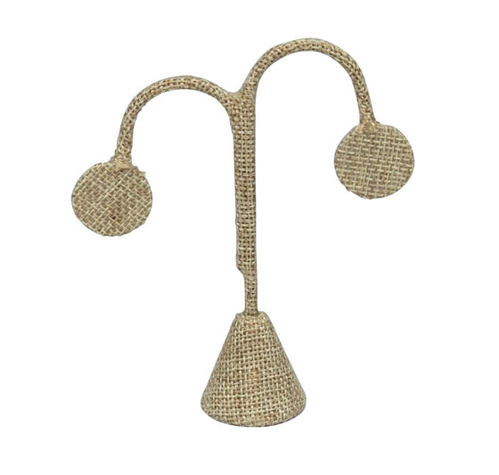 "4 3/4"" Lamp Shape Burlap Earring Display - Jewel Box Co"