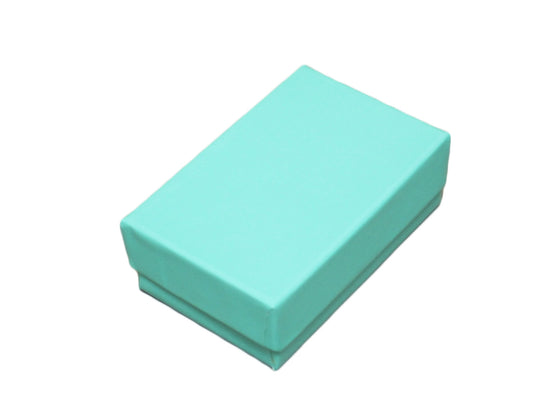 Glossy Teal Blue Cotton Filled Jewelry Box - Jewel Box Co