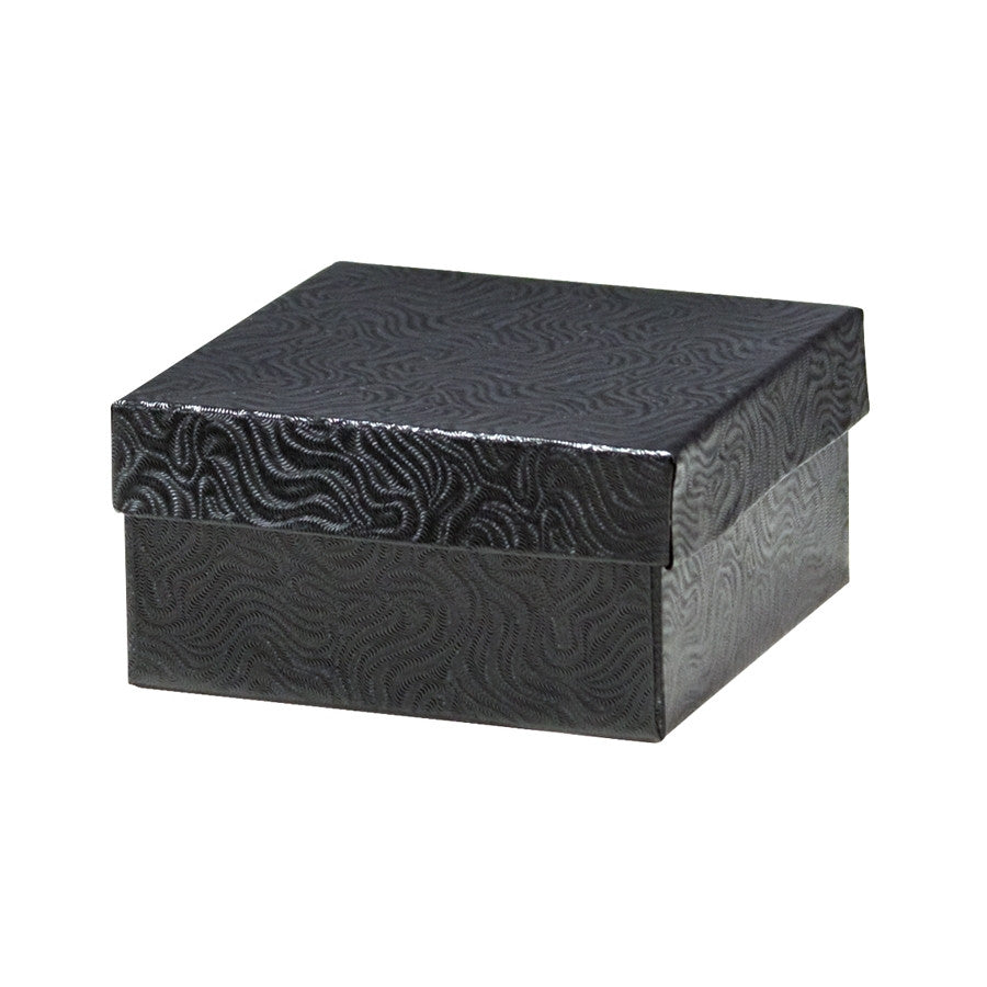 "3"" x 4"" Matte Black Cotton Filled Jewelry Box - Jewel Box Co"