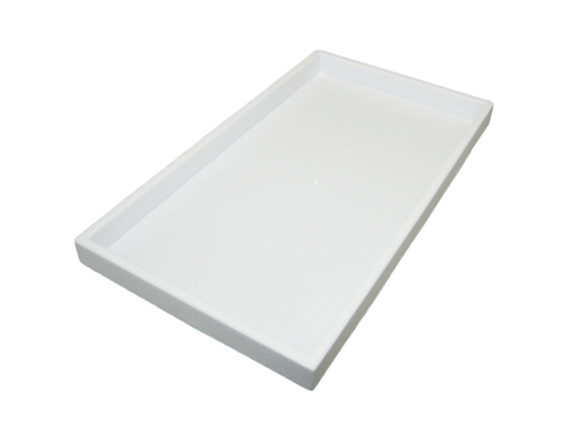"1"" White Plastic Stackable Utility Tray - Jewel Box Co"