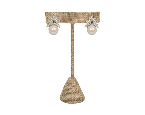4 3/4 Burlap T Earring Display Stand - Jewel Box Co