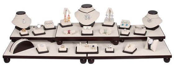 26 Piece Linen with Dark Walnut Showcase Collection Set - Jewel Box Co