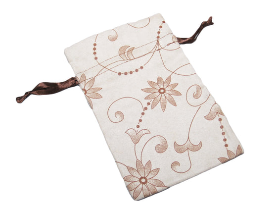 Beige Suede Floral Pattern Drawstring Pouch - Jewel Box Co